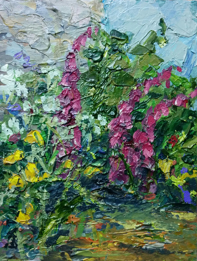 Welsh poppies and foxgloves at the corner of the barn £195 plus p&p