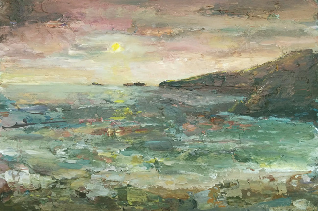 peaceful evening, July Beth Robinson. Acrylics on board, mounted and glazed in grey frame £495 currently on display at The Mill, Trefin
