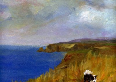 walking the dog trefin print Beth Robinson