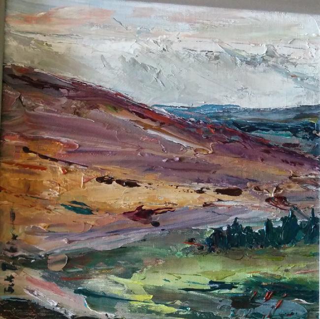 Beth Robinson Rosebush 1 30 x 30 cm in grey painted frame on display at Oriel y Parc